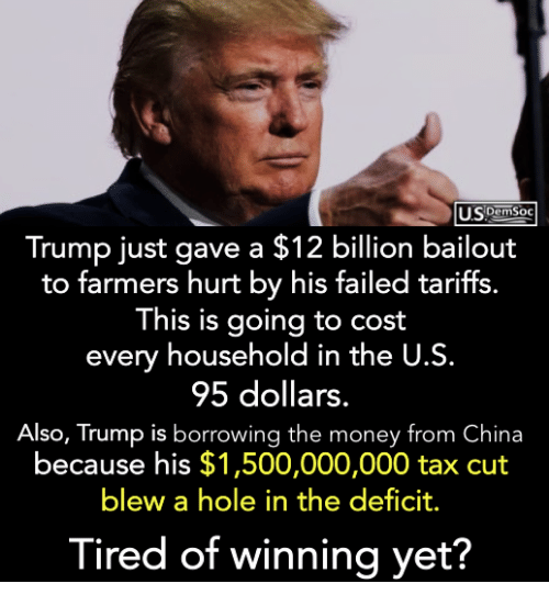 Money, China, and Trump: DemSOC  Trump just gave a $12 billion bailout  to farmers hurt by his failed tarifts.  This is going to cost  every household in the U.S.  95 dollars.  Also, Trump is borrowing the money from China  because his $1,500,000,000 tax cut  blew a hole in the deficit.  Tired of winnina vet?