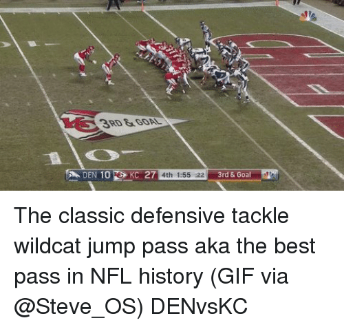 Gif, Nfl, and Sports: DEN 10  KC 27  4th 1:55 22  3rd & Goal The classic defensive tackle wildcat jump pass aka the best pass in NFL history (GIF via @Steve_OS) DENvsKC