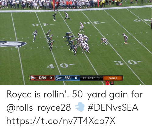 Memes, Royce, and 🤖: DEN O  SEA  1st 12:17 10  3rd &1 Royce is rollin'.  50-yard gain for @rolls_royce28 💨 #DENvsSEA https://t.co/nv7T4Xcp7X
