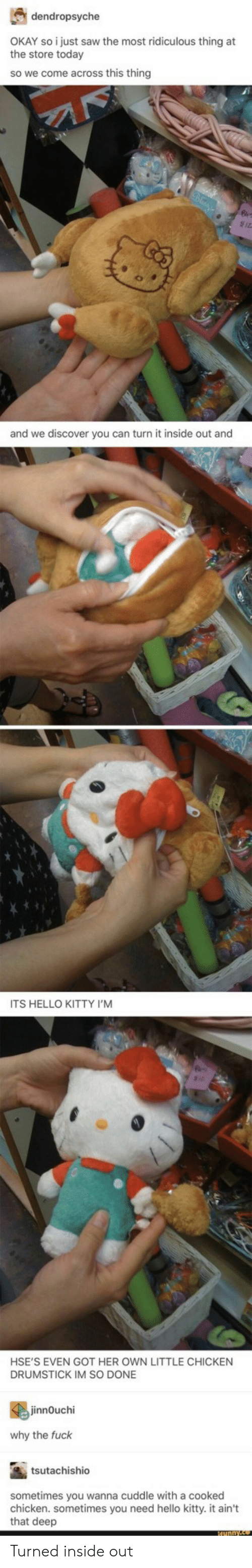 Im So Done: dendropsyche  the store torstysaw the most ridiculous thing at  the store today  so we come across this thing  and we discover you can turn it inside out and  ITS HELLO KITTY I'M  HSE'S EVEN GOT HER OWN LITTLE CHICKEN  DRUMSTICK IM SO DONE  innOuchi  why the fuck  tsutachishio  sometimes you wanna cuddle with a cooked  chicken. sometimes you need hello kitty. it ain't  that deep Turned inside out