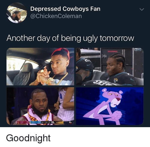 Dallas Cowboys, Funny, and Nfl: Depressed Cowboys Fan  @ChickenColeman  Another day of being ugly tomorrow  NFL  CLE 9314 GS Goodnight