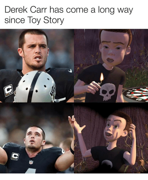 Memes, Toy Story, and 🤖: Derek Carr has come a long way  since Toy Story