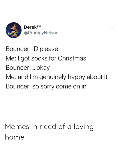 for christmas: DerekTM  @ProdigyNelson  Bouncer: ID please  Me:I got socks for Christmas  Bouncer: .okay  Me: and I'm genuinely happy about it  Bouncer: so sorry come on in Memes in need of a loving home