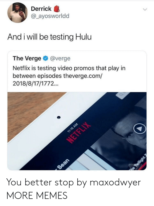 Dank, Hulu, and Memes: Derrick  @ ayosworldd  And i will be testing Hulu  The Verge@verge  Netflix is testing video promos that play in  between episodes theverge.com/  2018/8/17/1772.. You better stop by maxodwyer MORE MEMES