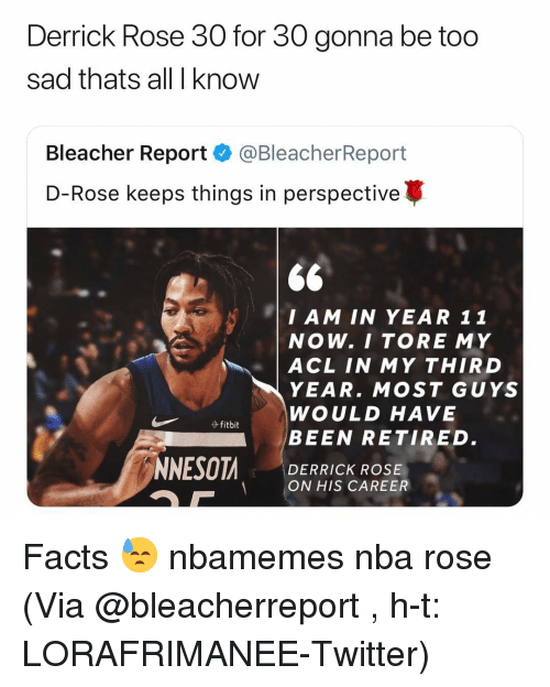 acl: Derrick Rose 30 for 30 gonna be too  sad thats all I know  Bleacher Report·@BleacherReport  D-Rose keeps things in perspective  $6  I AM IN YEAR 11  NOW. I TORE MY  | ACL IN MY THIRD  YEAR. MOST GUYS  WOULD HAVE  BEEN RETIRED.  DERRICK ROSE  ON HIS CAREER Facts 😓 nbamemes nba rose (Via @bleacherreport , h-t: ‪LORAFRIMANEE‬-Twitter)