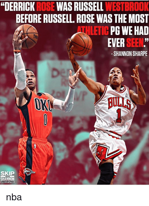 """sharpe: """"DERRICK ROSE WAS RUSSELL WESTBROOK  BEFORE RUSSELL. ROSE WAS THE MOST  PG WE HAD  EVER SEEN.""""  -SHANNON SHARPE  ATHLETIC  ON  BULLS  SKI  SHANNON  UNDISPUTED nba"""