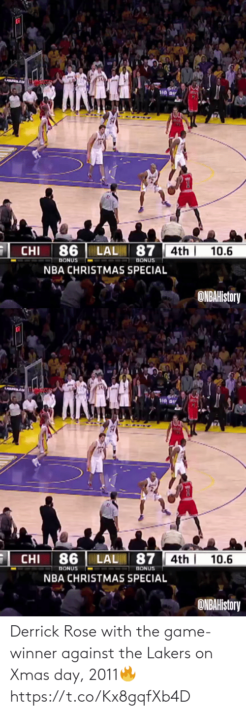 Rose: Derrick Rose with the game-winner against the Lakers on Xmas day, 2011🔥  https://t.co/Kx8gqfXb4D