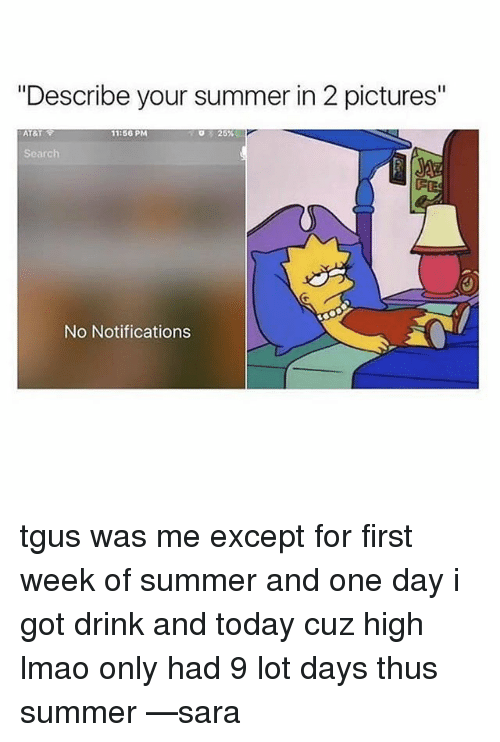 """Exceptation: """"Describe your summer in 2 pictures""""  AT&T  11:56 PM  25%  Search  No Notifications tgus was me except for first week of summer and one day i got drink and today cuz high lmao only had 9 lot days thus summer —sara"""