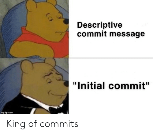 "Com, King, and Initial: Descriptive  commit message  ""Initial commit""  imgflip.com King of commits"