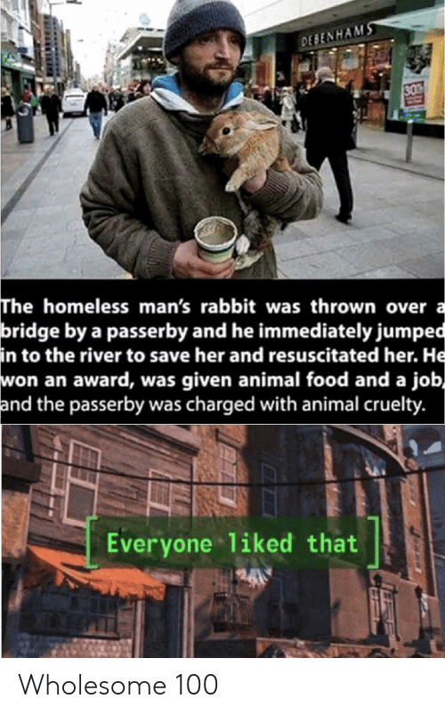 Food, Homeless, and Animal: DESENHAMS  30  The homeless man's rabbit was thrown over a  bridge by a passerby and he immediately jumped  in to the river to save her and resuscitated her. He  won an award, was given animal food and a job,  and the passerby was charged with animal cruelty.  Everyone 1iked that Wholesome 100