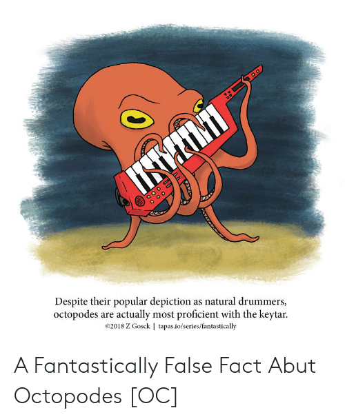 Drummers, Tapas, and Series: Despite their popular depiction as natural drummers,  octopodes are actually most proficient with the keytar.  ©2018 Z Gosck | tapas.io/series/fantastically A Fantastically False Fact Abut Octopodes [OC]