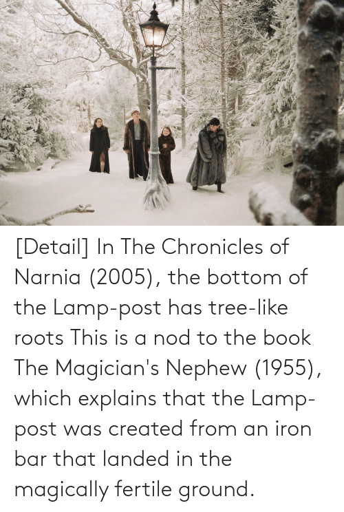 Book: [Detail] In The Chronicles of Narnia (2005), the bottom of the Lamp-post has tree-like roots This is a nod to the book The Magician's Nephew (1955), which explains that the Lamp-post was created from an iron bar that landed in the magically fertile ground.