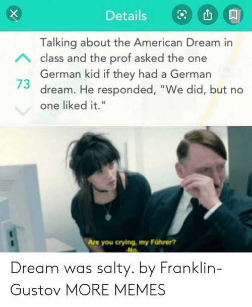 """Being salty: Details  Talking about the American Dream in  Aclass and the prof asked the one  German kid if they had a German  dream. He responded, """"We did, but no  one liked it.""""  Are you crying, my Führer?  No Dream was salty. by Franklin-Gustov MORE MEMES"""