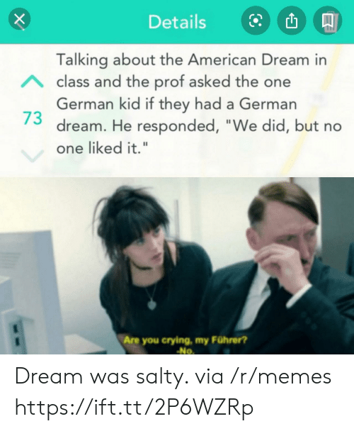 """Being salty: Details  Talking about the American Dream in  Aclass and the prof asked the one  German kid if they had a German  dream. He responded, """"We did, but no  one liked it.""""  Are you crying, my Führer?  No Dream was salty. via /r/memes https://ift.tt/2P6WZRp"""