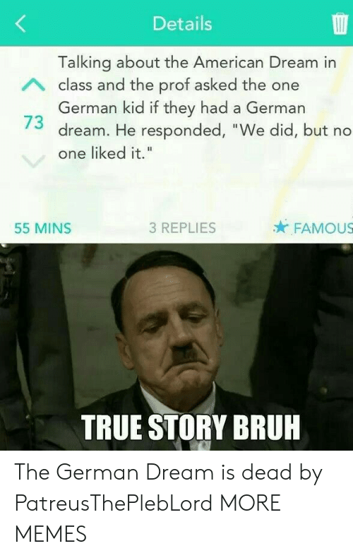 "Bruh, Dank, and Memes: Details  Talking about the American Dream in  German kid if they had a German  one liked it.""  A class and the prof asked the one  73 dream. He responded, ""We did, but no  55 MINS  3 REPLIES  FAMOUS  TRUE STORY BRUH The German Dream is dead by PatreusThePlebLord MORE MEMES"