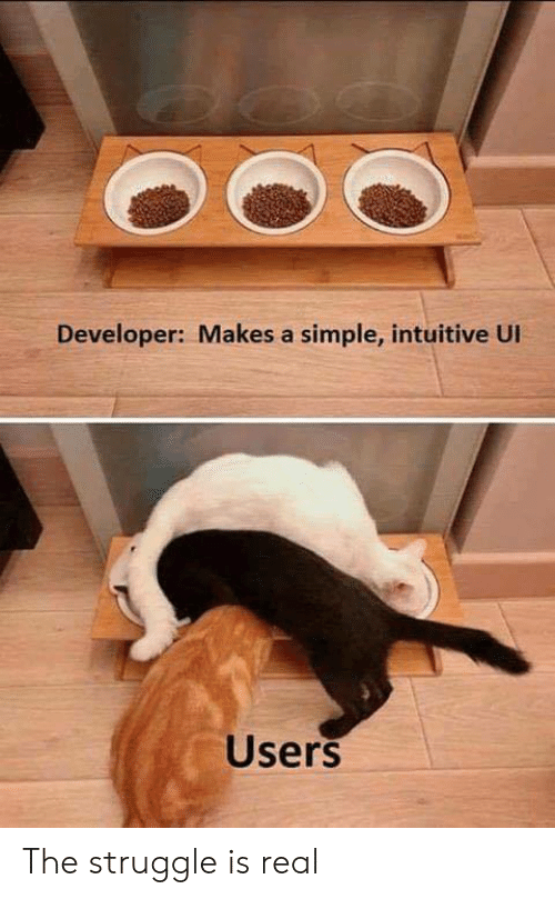 Struggle, The Struggle Is Real, and Simple: Developer: Makes a simple, intuitive Ul  Users The struggle is real