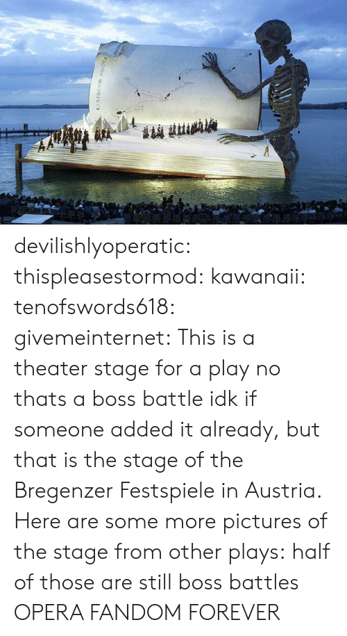 Some More, Tumblr, and Wikipedia: devilishlyoperatic:  thispleasestormod:  kawanaii:  tenofswords618:  givemeinternet:  This is a theater stage for a play  no thats a boss battle  idk if someone added it already, but that is the stage of the Bregenzer Festspiele in Austria. Here are some more pictures of the stage from other plays:           half of those are still boss battles  OPERA FANDOM FOREVER