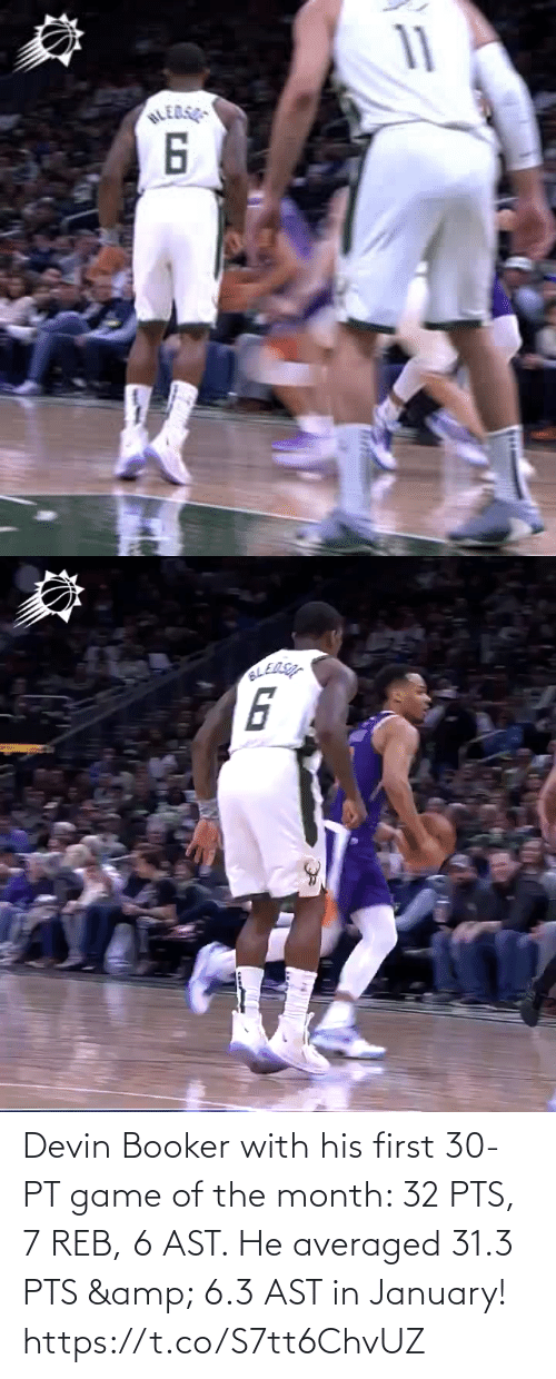 6 3: Devin Booker with his first 30-PT game of the month: 32 PTS, 7 REB, 6 AST.   He averaged 31.3 PTS & 6.3 AST in January!  https://t.co/S7tt6ChvUZ
