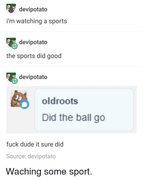 Dude, Sports, and Fuck: devipotato  i'm watching a sports  devipotato  the sports did good  devipotato  oldroots  Did the ball go  fuck dude it sure did  Source: devipotato Waching some sport.