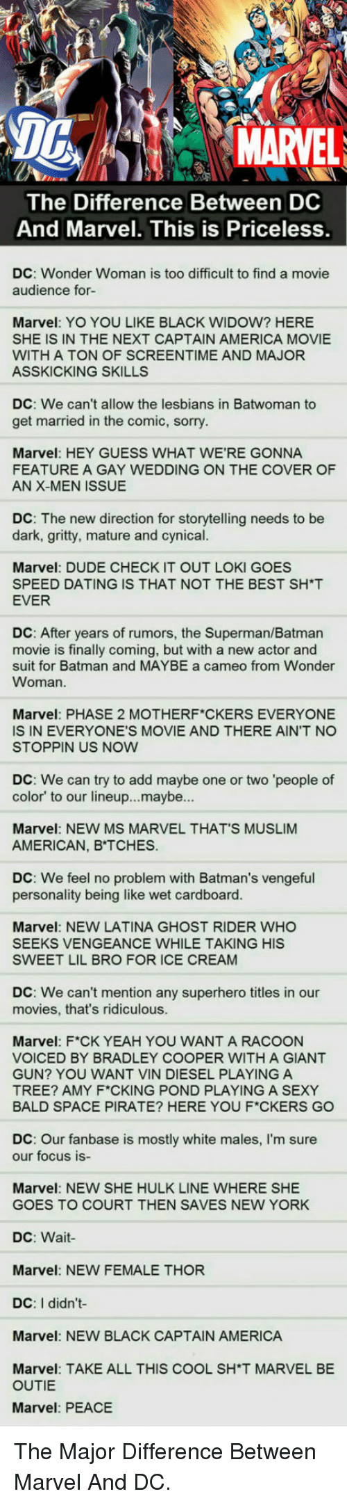 Muslim American: DG  MARVEL  The Difference Between DC  And Marvel. This is Priceless  DC: Wonder Woman is too difficult to find a movie  audience for-  Marvel: YO YOU LIKE BLACK WIDOW? HERE  SHE IS IN THE NEXT CAPTAIN AMERICA MOVIE  WITH A TON OF SCREENTIME AND MAJOR  ASSKICKING SKILLS  DC: We can't allow the lesbians in Batwoman to  get married in the comic, sorry  Marvel: HEY GUESS WHAT WE'RE GONNA  FEATURE A GAY WEDDING ON THE COVER OF  AN X-MEN ISSUE  DC: The new direction for storytelling needs to be  dark, gritty, mature and cynical.  ES  Marvel: DUDE CHECK IT OUT LOKI GO  SPEED DATING IS THAT NOT THE BEST SH*T  EVER  DC: After years of rumors, the Superman/Batman  movie is finally coming, but with a new actor and  suit for Batman and MAYBE a cameo from Wonder  Woman.  Marvel: PHASE 2 MOTHERF CKERS EVERYONE  IS IN EVERYONE'S MOVIE AND THERE AIN'T NO  STOPPIN US NOW  DC: We can try to add maybe one or two 'people of  color' to our lineup...maybe...  Marvel: NEW MS MARVEL THAT'S MUSLIM  AMERICAN, B TCHES.  DC: We feel no problem with Batman's vengeful  personality being like wet cardboard.  Marvel: NEW LATINA GHOST RIDER WHO  SEEKS VENGEANCE WHILE TAKING HIS  SWEET LIL BRO FOR ICE CREAM  DC: We can't mention any superhero titles in our  movies, that's ridiculous  Marvel: F*CK YEAH YOU WANT A RACOON  VOICED BY BRADLEY COOPER WITH A GIANT  GUN? YOU WANT VIN DIESEL PLAYING A  TREE? AMY F CKING POND PLAYING A SEXY  BALD SPACE PIRATE? HERE YOU F*CKERS GO  DC: Our fanbase is mostly white males, I'm sure  our focus is-  Marvel: NEW SHE HULK LINE WHERE SHE  GOES TO COURT THEN SAVES NEW YORK  DC: Wait  Marvel: NEW FEMALE THOR  DC: I didn't  Marvel: NEW BLACK CAPTAIN AMERICA  Marvel: TAKE ALL THIS COOL SH'T MARVEL BE  OUTIE  Marvel: PEACE <p>The Major Difference Between Marvel And DC.</p>