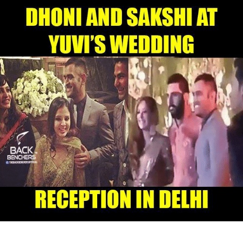 sakshi: DHONI AND SAKSHI AT  YUVI'S WEDDING  BACK  BENCHERS  RECEPTION IN DELHI