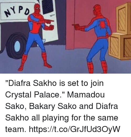 "Soccer, Crystal Palace, and Crystal: ""Diafra Sakho is set to join Crystal Palace.""  Mamadou Sako, Bakary Sako and Diafra Sakho all playing for the same team. https://t.co/GrJfUd3OyW"
