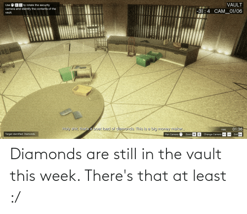 the vault: Diamonds are still in the vault this week. There's that at least :/
