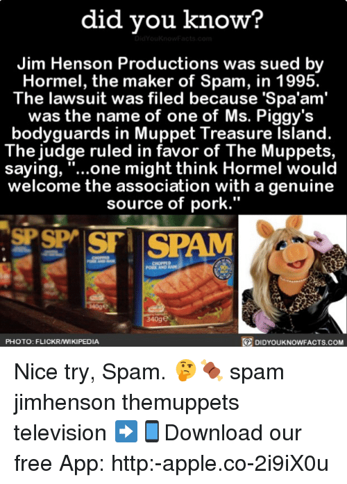 """Porke: did vou know?  Jim Henson Productions was sued by  Hormel, the maker of Spam, in 1995.  The lawsuit was filed because 'Spa'am'  was the name of one of Ms. Piggy's  bodyguards in Muppet Treasure Island.  The judge ruled in favor of The Muppets,  saying, """"...one might think Hormel would  welcome the association with a genuine  source of pork.""""  PORK AND  340ge  PHOTO: FLICKRAMIKIPEDIA  DIDYOUKNOWFACTS.coM Nice try, Spam. 🤔🍖 spam jimhenson themuppets television ➡📱Download our free App: http:-apple.co-2i9iX0u"""