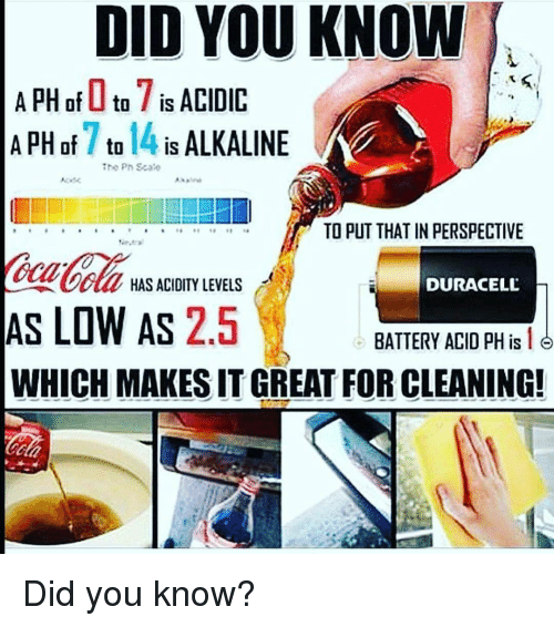 alkaline: DID YOU KNOW  A PH of I to7  is ACIDIC  A PH of to  14 IS  ALKALINE  Theo Ph Sca  TO PUT THAT IN PERSPECTIVE  DURACELL  HAS ACIDITY LEVELS  AS LOW AS  2.5  BATTERY ACID PH is  16  WHICH MAKESITGREAT FOR CLEANING! Did you know?