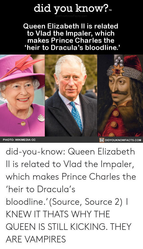 "Bloodline: did you know?.  DidYouKnow Facts, com  Queen Elizabeth II is related  to Vlad the Impaler, which  makes Prince Charles the  heir to Dracula's bloodline.""  DIDYOUKNOWFACTS.COM  PHOTO: WIKIME DIA CC did-you-know:  Queen Elizabeth II is related to Vlad the Impaler, which makes Prince Charles the 'heir to Dracula's bloodline.'(Source, Source 2)  I KNEW IT THATS WHY THE QUEEN IS STILL KICKING. THEY ARE VAMPIRES"