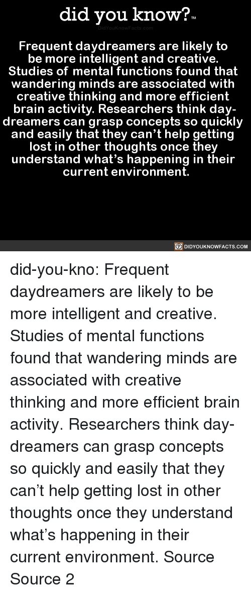Frequent: did you know?  Frequent daydreamers are likely to  be more intelligent and creative.  Studies of mental functions found that  wandering minds are associated with  creative thinking and more efficient  brain activity. Researchers think day-  dreamers can grasp concepts so quickly  and easily that they can't help getting  lost in other thoughts once they  understand what's happening in their  current environment.  DIDYOUKNOWFACTS.COM did-you-kno:  Frequent daydreamers are likely to   be more intelligent and creative.   Studies of mental functions found that   wandering minds are associated with   creative thinking and more efficient   brain activity. Researchers think day-  dreamers can grasp concepts so quickly   and easily that they can't help getting   lost in other thoughts once they   understand what's happening in their   current environment.  Source Source 2