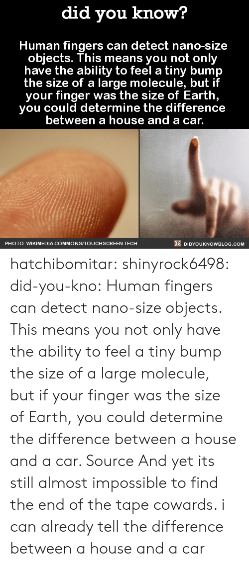Wikimedia: did you know?  Human fingers can detect nano-size  objects. This means you not only  have the ability to feel a tiny bump  the size of a large molecule, but if  your finger was the size of Earth  you could determine the difference  between a house and a car.  PHOTO: WIKIMEDIA COMMONSITOUCHSCREEN TECH  DIDYOUKNOWBLOG.COM hatchibomitar:  shinyrock6498:  did-you-kno: Human fingers can detect nano-size  objects. This means you not only  have the ability to feel a tiny bump  the size of a large molecule, but if  your finger was the size of Earth,  you could determine the difference  between a house and a car.  Source  And yet its still almost impossible to find the end of the tape  cowards. i can already tell the difference between a house and a car