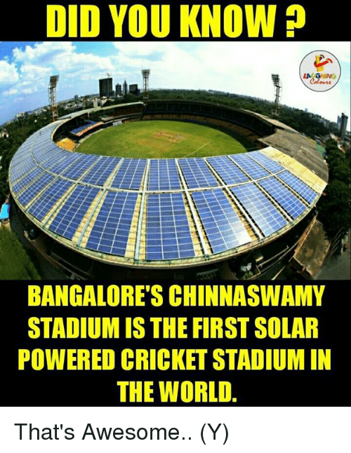 bangalore: DID YOU KNOW  LA  BANGALORES CHINNASWAMY  STADIUMIS THE FIRST SOLAR  POWERED CRICKET STADIUM IN  THE WORLD That's Awesome.. (Y)