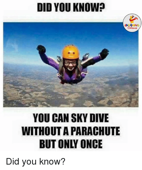 sky diving: DID YOU KNOW?  LA GHNG  YOU CAN SKY DIVE  WITHOUTA PARACHUTE Did you know?