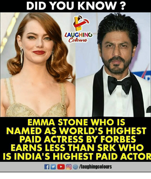 stoning: DID YOU KNOW ?  LAUGHINO  EMMA STONE WHO IS  NAMED AS WORLD'S HIGHEST  PAID ACTRESS BY FORBES  EARNS LESS THAN SRK WHO  IS INDIA'S HIGHEST PAID ACTOR