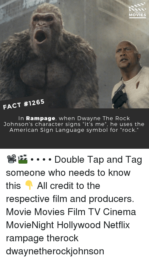 """Tag Someone Who: DID YOU KNOW  MOVIES  FACT #1265  In Rampage, when Dwayne The Rock  Johnson's character signs """"it's me"""", he uses the  American Sign Lanquage symbol for """"rock."""" 📽️🎬 • • • • Double Tap and Tag someone who needs to know this 👇 All credit to the respective film and producers. Movie Movies Film TV Cinema MovieNight Hollywood Netflix rampage therock dwaynetherockjohnson"""