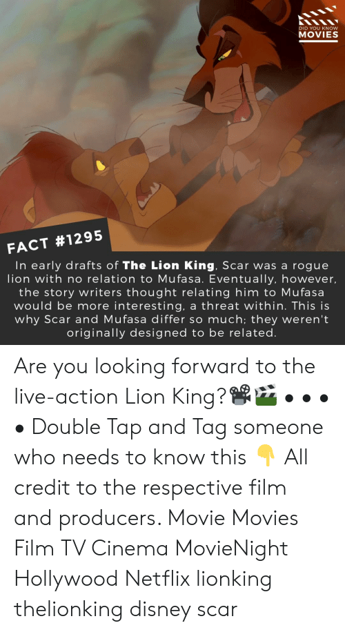 double tap: DID YOU KNOW  MOVIES  FACT #1295  In early drafts of The Lion King, Scar was a rogue  lion with no relation to Mufasa. Eventually, however,  the story writers thought relating him to Mufasa  would be more interesting, a threat within. This is  why Scar and Mufasa differ so much; they weren't  originally designed to be related Are you looking forward to the live-action Lion King?📽️🎬 • • • • Double Tap and Tag someone who needs to know this 👇 All credit to the respective film and producers. Movie Movies Film TV Cinema MovieNight Hollywood Netflix lionking thelionking disney scar