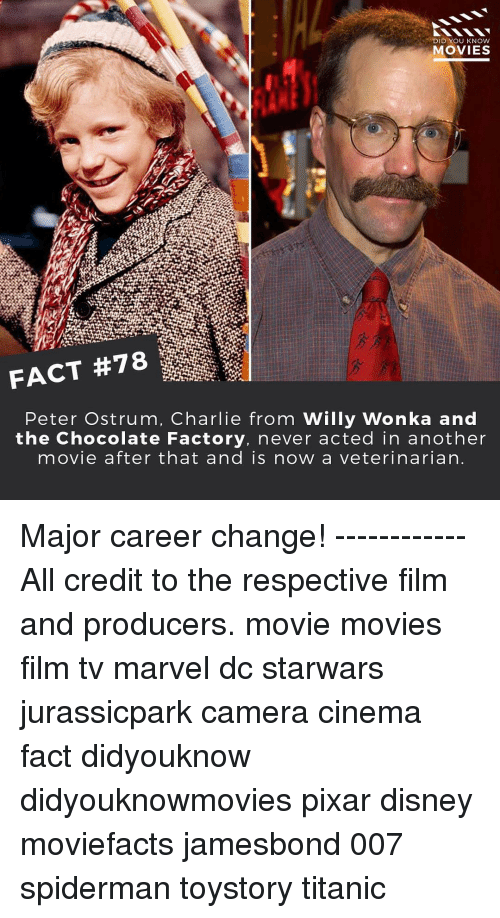 Peter Ostrum: DID YOU KNOW  MOVIES  Peter Ostrum, Charlie from Willy Wonka and  the Chocolate Factory, never acted in another  movie after that and is now a veterinarian Major career change! ------------ All credit to the respective film and producers. movie movies film tv marvel dc starwars jurassicpark camera cinema fact didyouknow didyouknowmovies pixar disney moviefacts jamesbond 007 spiderman toystory titanic