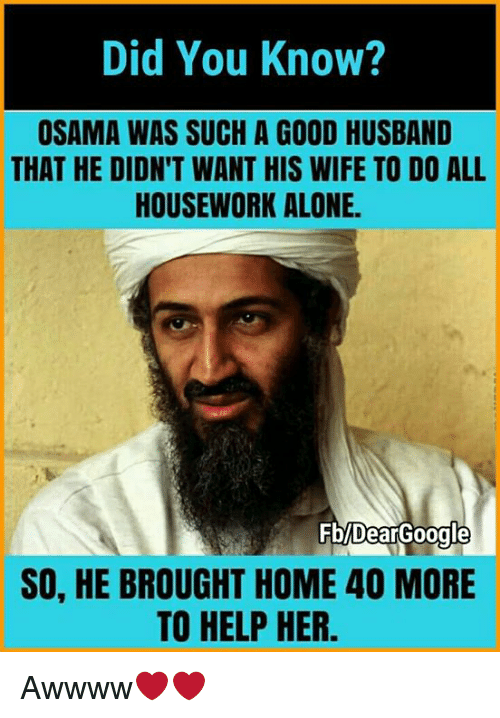 Housework: Did You Know?  OSAMA WAS SUCH A GOOD HUSBAND  THAT HE DIDN'T WANT HIS WIFE TO DO ALL  HOUSEWORK ALONE.  0000000  SO, HE BROUGHT HOME 40 MORE  TO HELP HER. Awwww❤❤