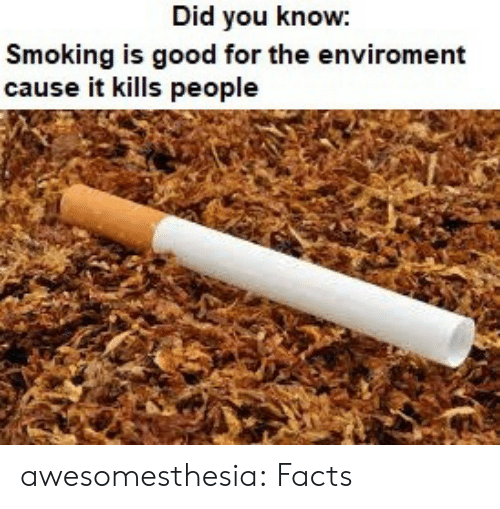 Facts, Smoking, and Tumblr: Did you know:  Smoking is good for the enviroment  cause it kills people awesomesthesia:  Facts