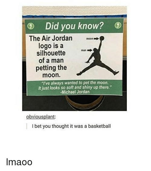 "Air Jordan, Basketball, and I Bet: Did you know?  The Air Jordan  logo is a  silhouette  of a man  petting the  moon.  moon  man →  I've always wanted to pet the moon.  It just looks so soft and shiny up there.""  Michael Jordan  obviousplant  I bet you thought it was a basketball lmaoo"