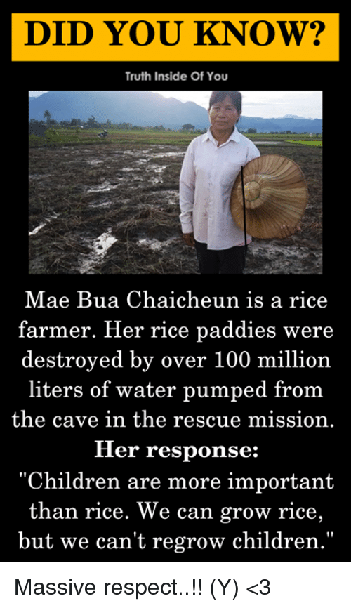"""the cave: DID YOU KNOW?  Truth Inside Of You  Mae Bua Chaicheun is a rice  farmer. Her rice paddies were  destroyed by over 100 million  liters of water pumped from  the cave in the rescue mission.  Her response:  """"Children are more important  than rice. We can grow rice,  but we can't regrow children."""" Massive respect..!! (Y) <3"""