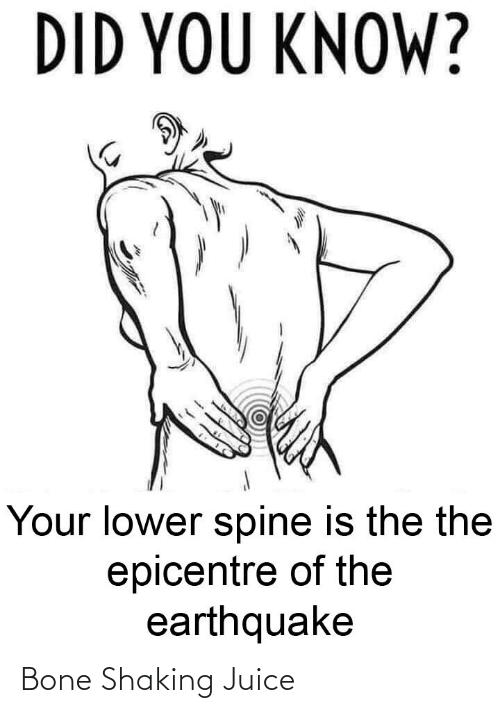 Did You: DID YOU KNOW?  Your lower spine is the the  epicentre of the  earthquake Bone Shaking Juice