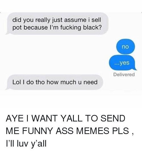 funny ass memes: did you really just assume i sell  pot because I'm fucking black?  no  ...yes  Delivered  Lol I do tho how much u need AYE I WANT YALL TO SEND ME FUNNY ASS MEMES PLS , I'll luv y'all