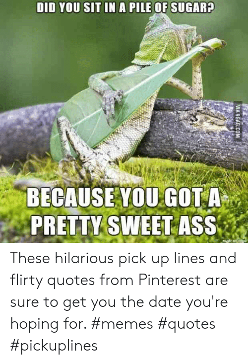 flirty: DID YOU SIT IN A PILE OF SUGARA  BECAUSE YOU GOT A  PRETTY SWEET ASS These hilarious pick up lines and flirty quotes from Pinterest are sure to get you the date you're hoping for. #memes #quotes #pickuplines