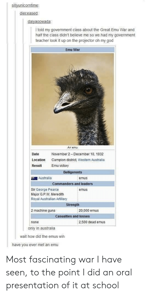 emu: dieceased  daiyaoowada  I told my government class about the Great Emu War and  half the class didn't believe me so we had my government  teacher look it up on the projector oh my god  Emu War  An emu  Date  Location  Result  November 2 December 10, 1932  Campion district, Western Australia  Emu victory  Belligerents  Australia  emus  Commanders and leaders  Sir George Pearce  Major G.P.W. Meredith  Royal Australian Artillery  emus  Strength  2 machine guns  20,000 emus  Casualties and losses  none  2,500 dead emus  only in australia  wait how did the emus win  have you ever met an emu Most fascinating war I have seen, to the point I did an oral presentation of it at school