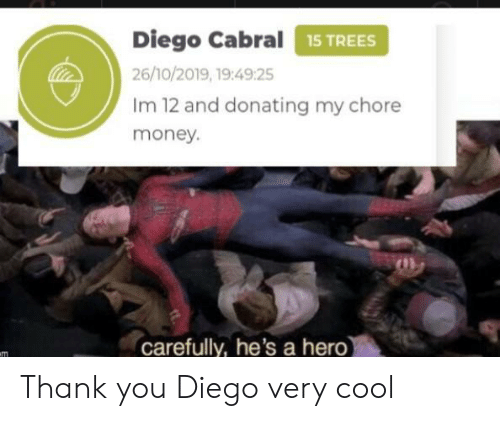 Donating: Diego Cabral15 TREES  26/10/2019, 19:49:25  Im 12 and donating my chore  money.  carefully, he's a hero)  m Thank you Diego very cool