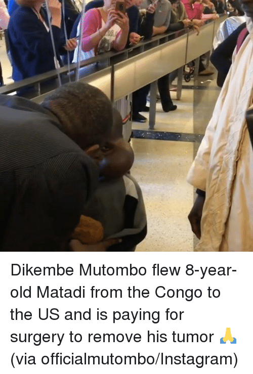congo: Dikembe Mutombo flew 8-year-old Matadi from the Congo to the US and is paying for surgery to remove his tumor 🙏  (via officialmutombo/Instagram)