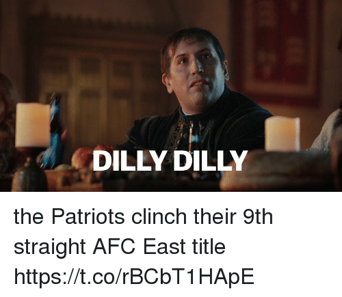 Afc East: DILLY DILLY the Patriots clinch their 9th straight AFC East title https://t.co/rBCbT1HApE