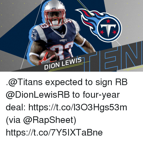 Memes, 🤖, and Titans: DION LEWI'S .@Titans expected to sign RB @DionLewisRB to four-year deal: https://t.co/l3O3Hgs53m (via @RapSheet) https://t.co/7Y5IXTaBne